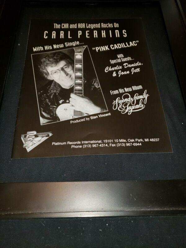 Carl Perkins Pink Cadillac Rare Original Radio Promo Ad Framed!
