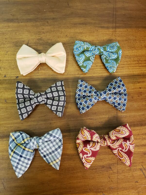Lot of 6 Vintage Retro Bow Ties Clip On Rust Resistant Ormond Funky