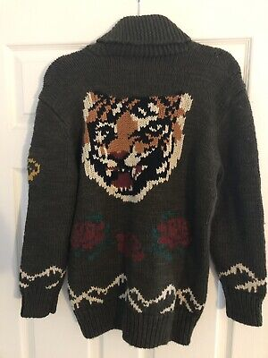 $598 Polo Ralph Lauren Womens Intarsia Knit Tiger Shawl Cardigan Sweater Jacket