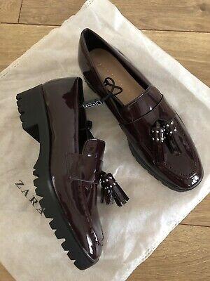 New Zara Womens Tasseled Moccasins Loafers Shoes Burgundy Sz 36 US 6