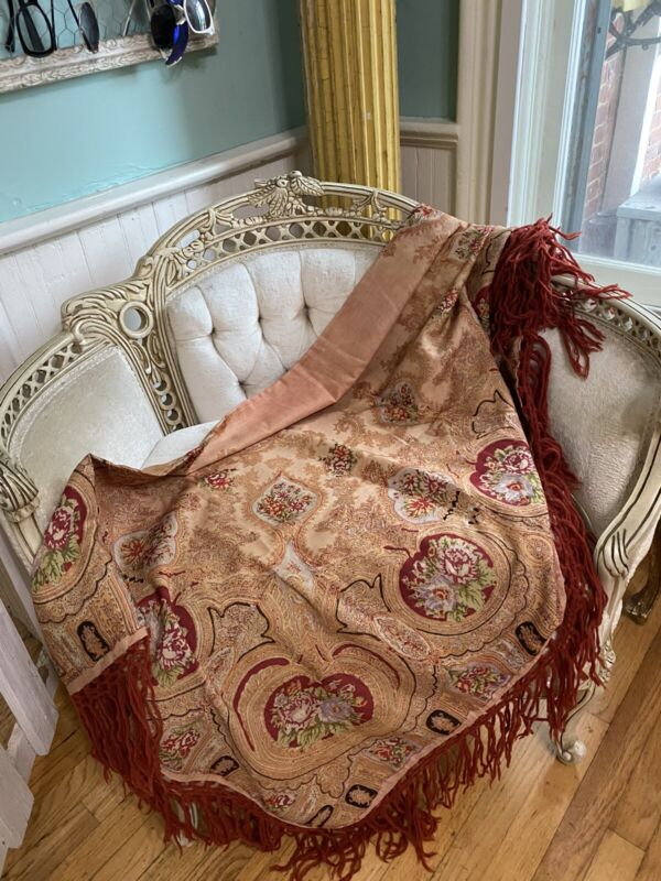 Antique Wool Early 1800's Paisley Pastel Shawl Knotted Fringed Muted Tones ROSES