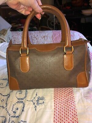 VINTAGE GUCCI TAUPE BROWN GG DUFFLE SATCHEL BAG PURSE