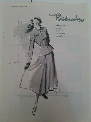 1948 women's Handmacher dress hat Nichols fashion illustration art vintage ad