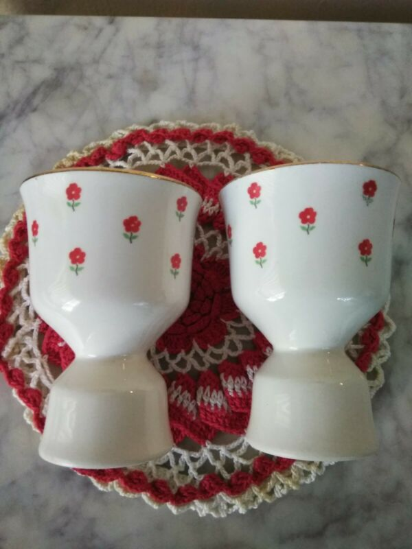 """Blushing Rose Dalrymple Lido WS George (2) Double Egg Cups 3 7/8"""" USA 1950"""