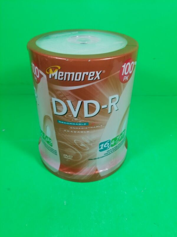 Memorex DVD-R 16X 4.7GB 120 Minute 100 Pack Spindle - Brand New Sealed