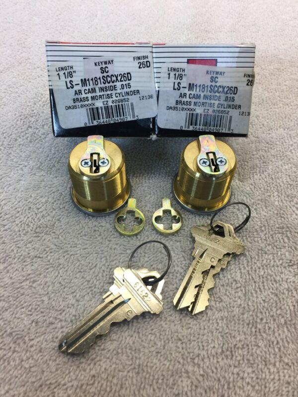 "Set of 2 LSDA Mortise Cylinders Keyed Alike 4 Keys Bronze 1-1/8 "" Long (1913)"