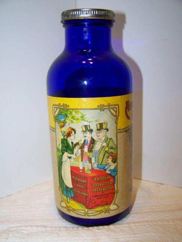 Antique Brioschi Effervescent Preparation Cobalt Blue Glass Bottle