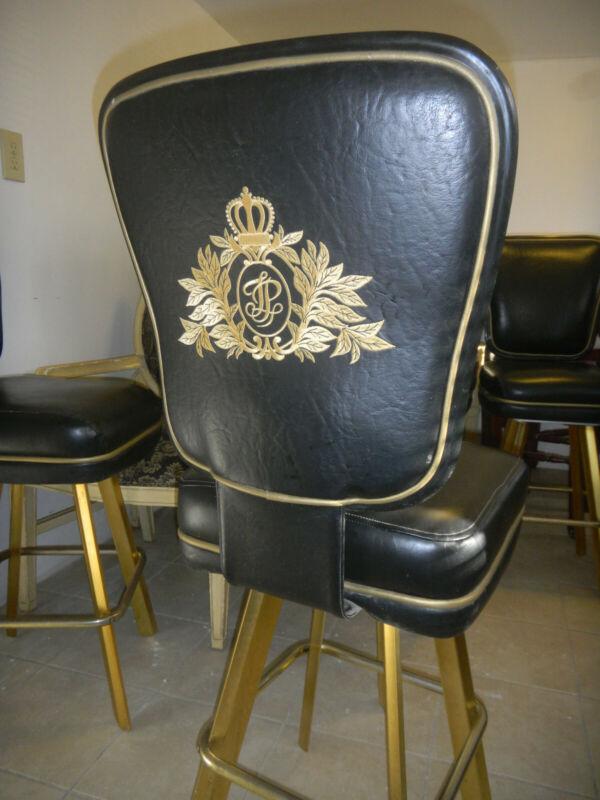 TRUMP PLAZA CASINO STOOL CHAIR - Black Leather Gold Insignia