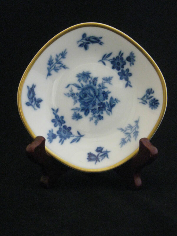 PMR Bavaria Jaeger Co. Fine Porcelain Blue Cobalt Roses Butter Pat with Stand