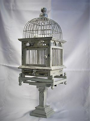 Antique / Vintage Style Dome Top Vitorian Wood Wire Bird Cage Birdcage