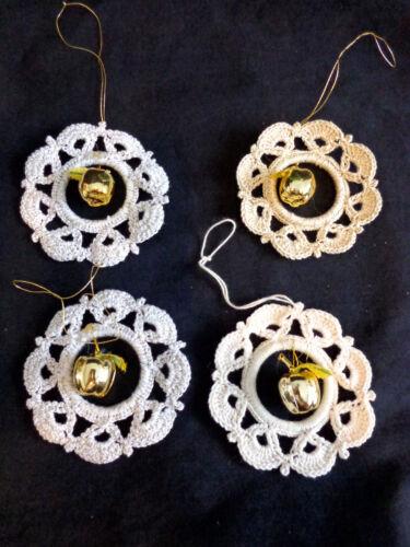 Beige Wreath Christmas Ornaments Set of 4 Handmade Crochet Gold Apple Glitter