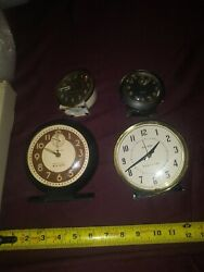 Lot 4 Vtg Westclox Wind Up Round Clocks: 2 Big Ben, 2 Baby Ben Untested