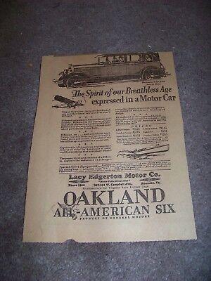 1928 Roanoke Times Va Oakland All American Six Lacy Edgerton Motor Company
