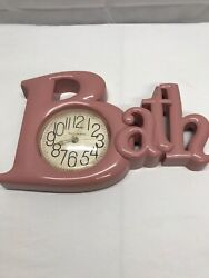 Vtg Bathroom BATH Pink Spell-Out Letters Plastic Wall Clock New Haven Quartz
