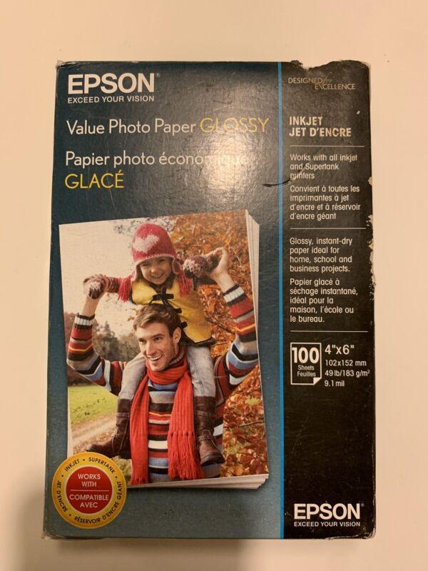 "EPSON VALUE PHOTO PAPER GLOSSY, 4"" X 6"", BOX OF 100, NEW DAMAGED BOX"