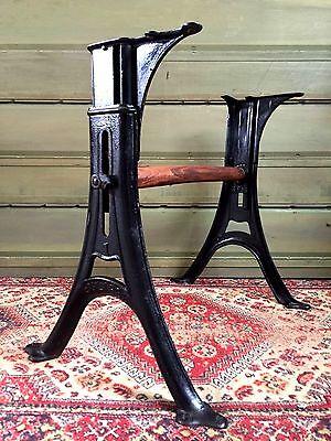 Vintage ECLIPSE Adjustable Industrial TABLE LEGS Cast Iron Desk Salvage #1