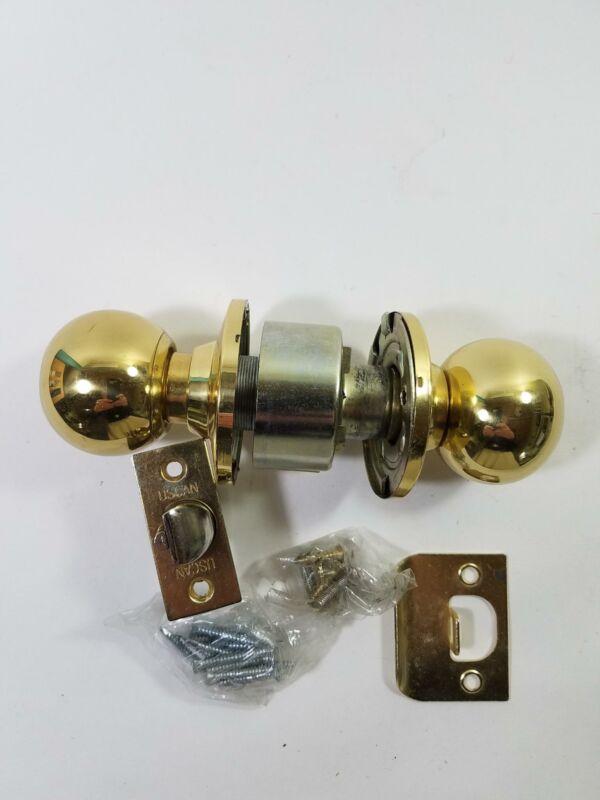 Polished Brass Lockset Key-in-Knob/Privacy Grade 3 No Key