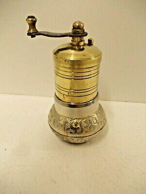 Vintage Indian brass and white metal pepper grinder