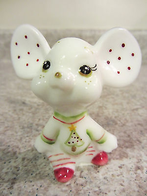 """Fenton Glass Christmas, 2011 Milkglass Handpainted """"Holiday Chums"""" Series Mouse"""