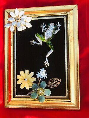 ORIGINAL OOAK Jewelry Art FROG Handmade Framed Black Velvet Background
