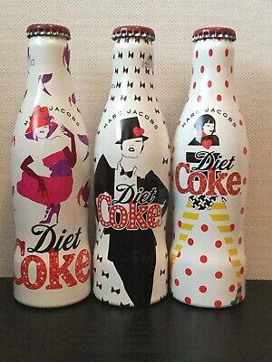 3 x Marc Jacobs Aluminium Diet Coke Bottles Set Limited Edition 2013 Coca Cola