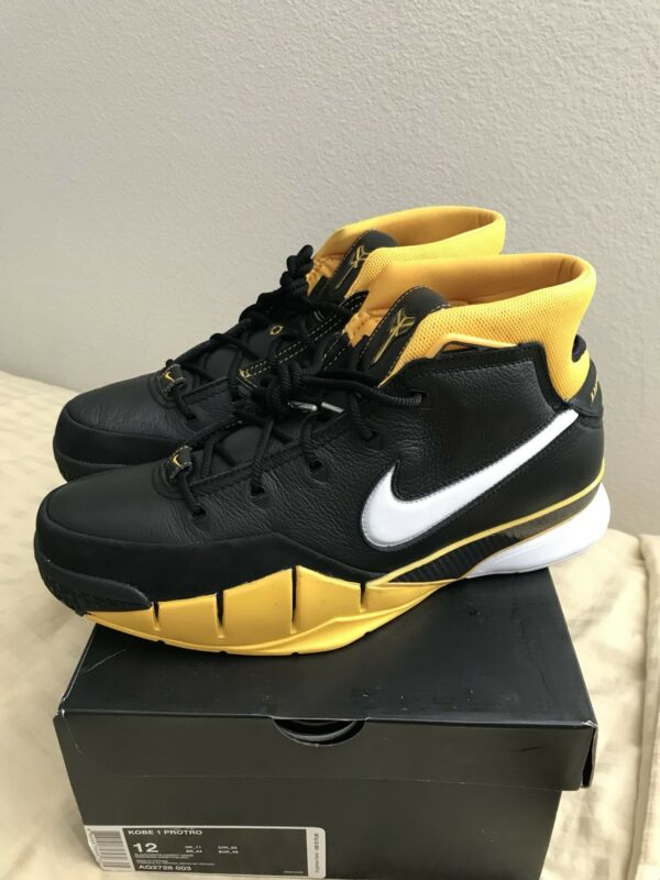 huge discount 65e0b 69c84 Nike Kobe 1 Protro Del Sol AQ2728-003 Black White Varsity Maize Mens