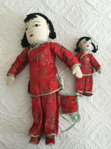 """Vintage Chinese Dolls Mother with Baby on Back 18"""" Cloth Made in Hong Kong"""