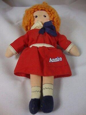 """Vintage Knickerbocker Annie Rag Doll 9"""" 1977 Red Orange Toy No Box"""