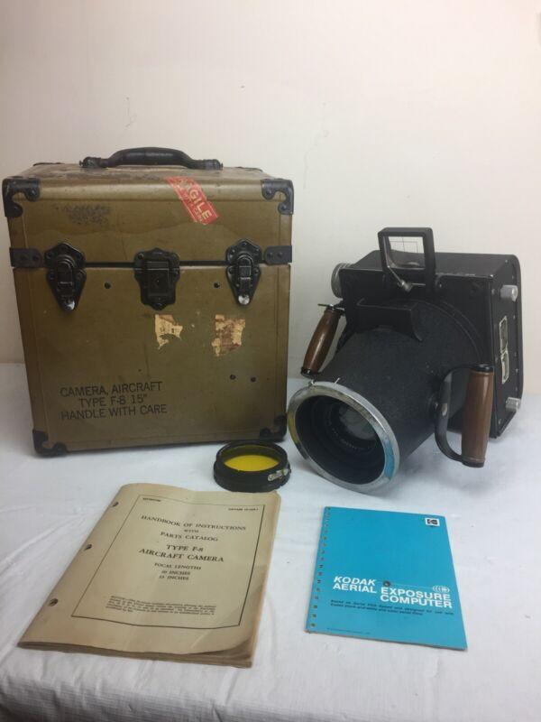 "US Navy WWII Keystone F-8 Large Format Aircraft Camera 15"" W/ Original Case Lens"