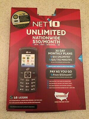 New Net 10 Unlimited LG320G Prepaid Cell Phone TracFone Bar Track Phone Black