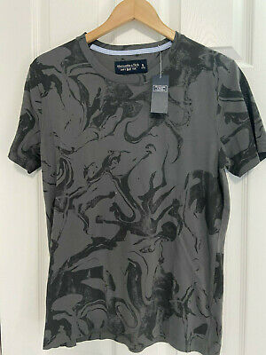 BNWT MEN'S ABERCROMBIE & FITCH S/S SOFT TSHIRT GRAY & BLACK US SIZE SMALL (S)
