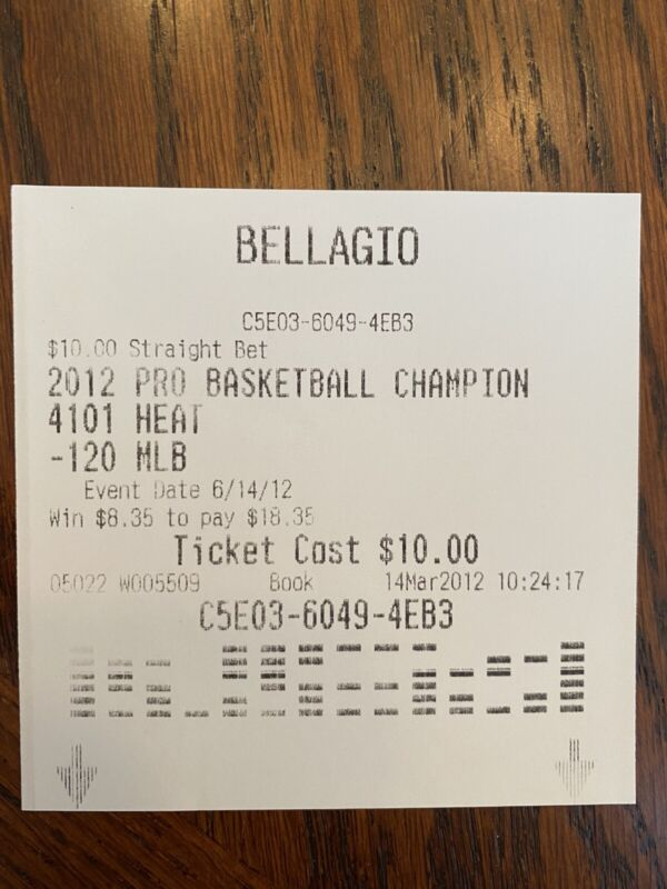 INSANE LeBron James UNCLAIMED BET TICKET for FIRST CHAMPIONSHIP - 2012 HEAT RE@D