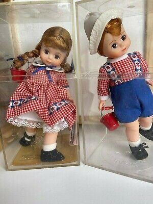 "Madame Alexander Miniature Showcase 8"" Jack & Jill Dolls with Display Box & Tags"