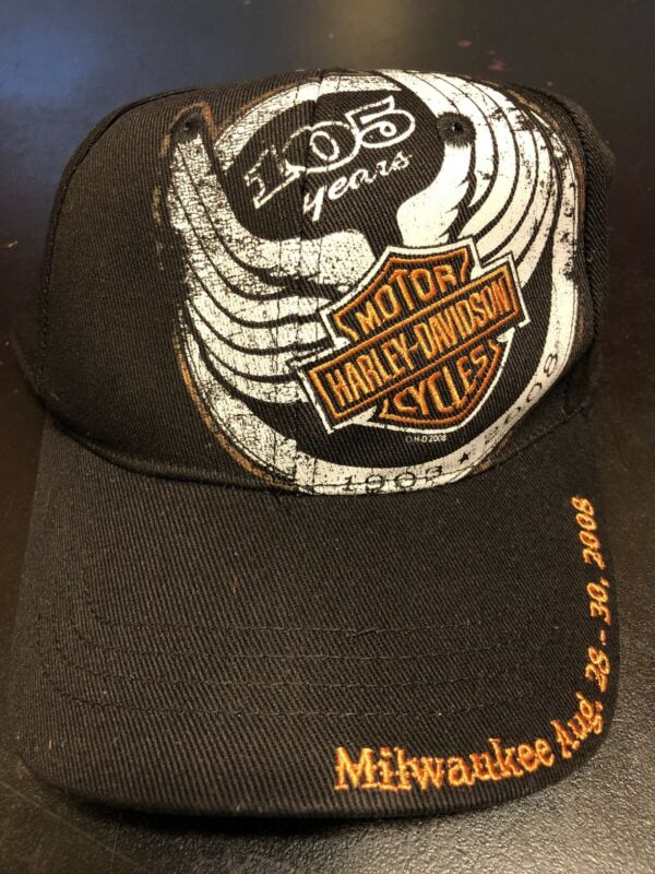 HARLEY DAVIDSON 105TH ANNIVERSARY BLACK BASEBALL CAP/HAT STRETCH/ FLEX-FIT NWOT