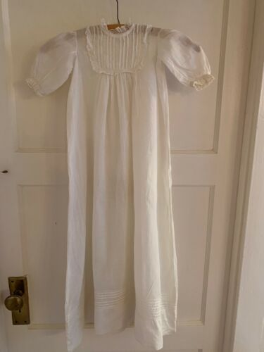 Antique Vintage Long Baby Christening Gown, Cotton with Lace & Pintucks