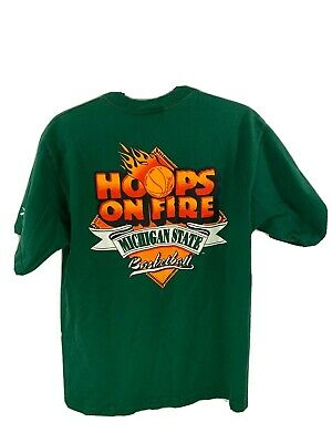 Michigan State University vintage Tee Hoops On Fire 1997-98 Reebok Size Medium Reebok Basketball Tee