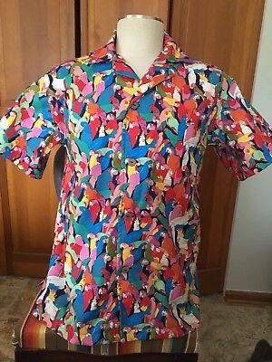 """Rainbow Parrots"" SOMETHING FISHY SHIRTS, Medium, Cotton, Handmade Tropical"