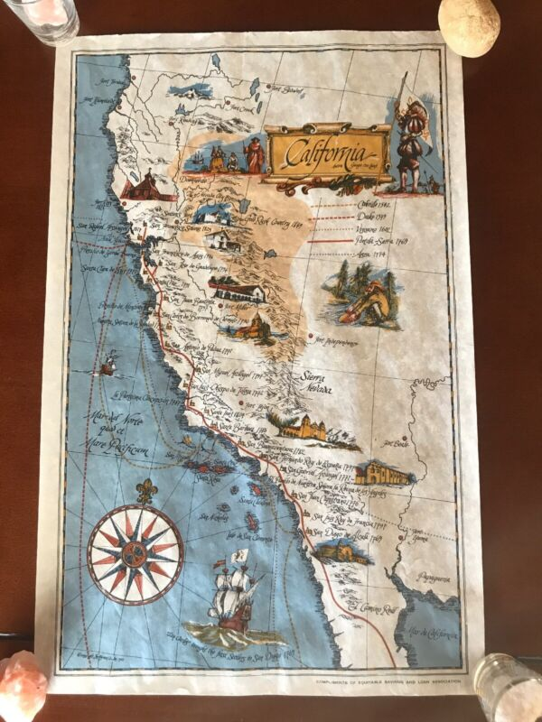 1967 California Pictorial Map Of Early Discovery Route George Otto Hanft