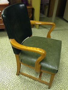 Hunter Green Leather Solid Wooden Chair  London Ontario image 3