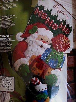 "Bucilla Ho Ho Ho Santa Felt Stocking Kit #86171 Christmas 18"""