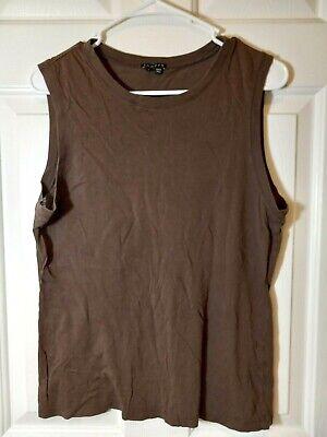 THEORY Women's Cotton Blend Brown Sleeveless Tee Shirt Top Size L