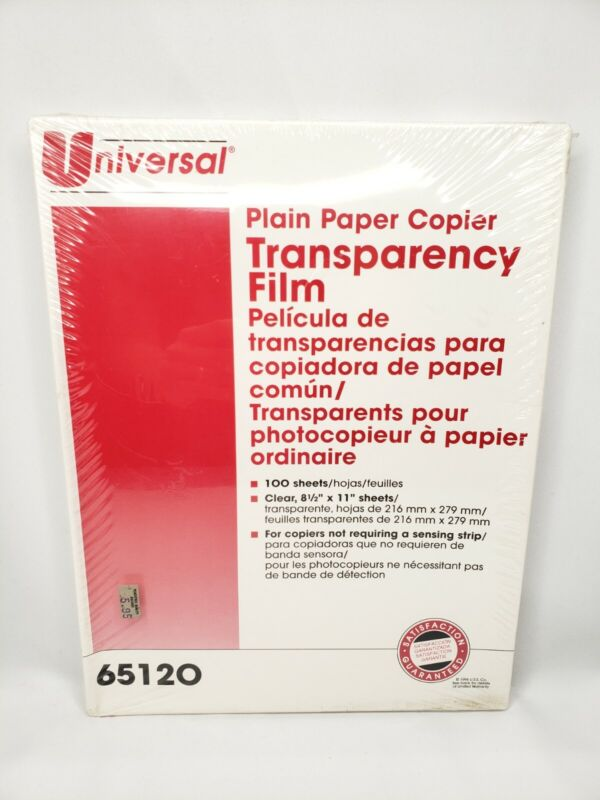 Universal Brand Plain Paper Copier Transparency Film New Old Stock 1996