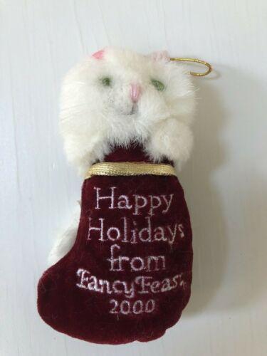 FANCY FEAST Christmas ORNAMENT 2000 Kitty Cat Christmas Plush Ornament White Cat