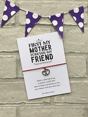 Mothers Day Wish Bracelet, Mothers Day Card with Tibetan Silver Heart Charm Gift