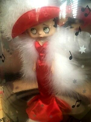 Betty Boop Talking Doll Red Satin Dress white Boa Collectable Doll New Boop A Do Betty White Satin