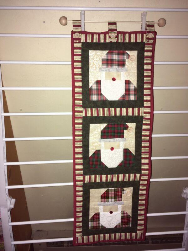 "Handmade NEW quilted Christmas Santa wall hanging 10"" x 29"""