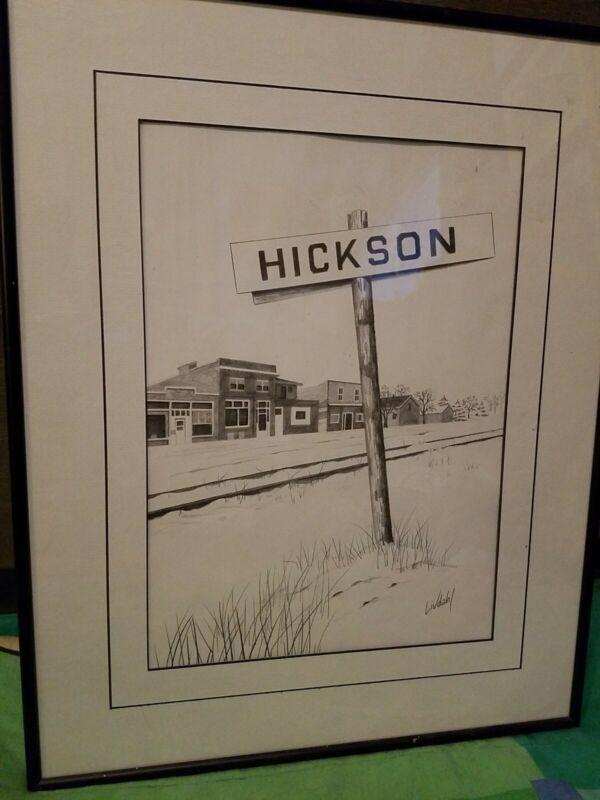 Vtg Signed LIVDAHL Framed Matted Picture/Drawing HICKSON RR Tracks North Dakota