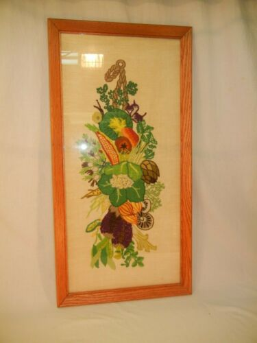 """Vintage Framed Hand Made Needlepoint Fall Harvest /Floral Picture 32"""" x 16"""""""