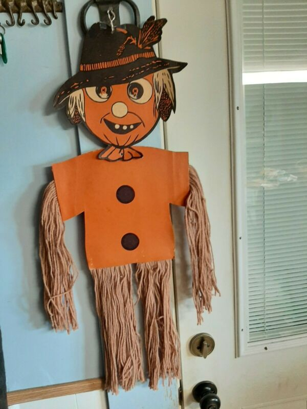 Vintage Halloween scarecrow Beistle Diecut modified due to age