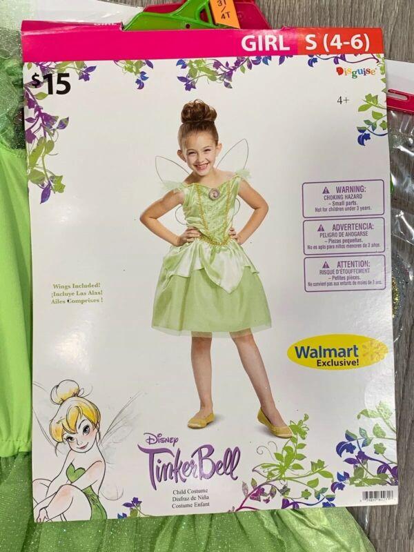 New Disney Tinker bell Tinkebell Dress Wings Halloween Girl Small 4-6 Costume OO